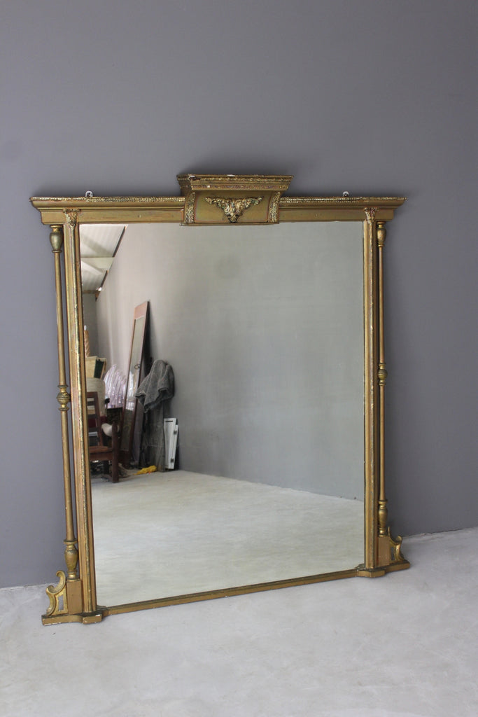 antique large over mantle mirror
