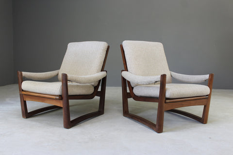 mid century pair retro guy rogers teak frame easy chairs armchairs