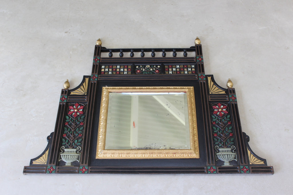 Antique Cast Iron Aesthetic Movement Over Mantle Mirror - Kernow Furniture