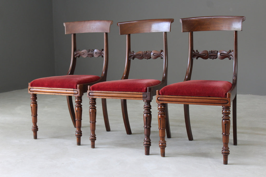 3 Antique Victorian Bar Back Mahogany Dining Chairs - Kernow Furniture