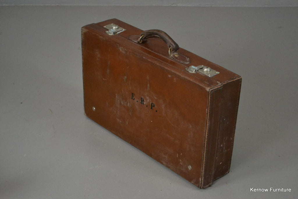 Antique Brown Leather Suitcase & Cover - vintage retro and antique furniture