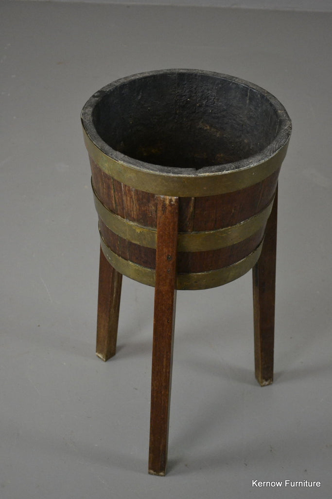 Oak Barrel Plant Stand - Kernow Furniture 100s vintage, retro & antique items in stock