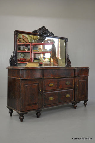 Well Worn Rustic Mahogany Mirror Back Sideboard - Kernow Furniture 100s vintage, retro & antique items in stock