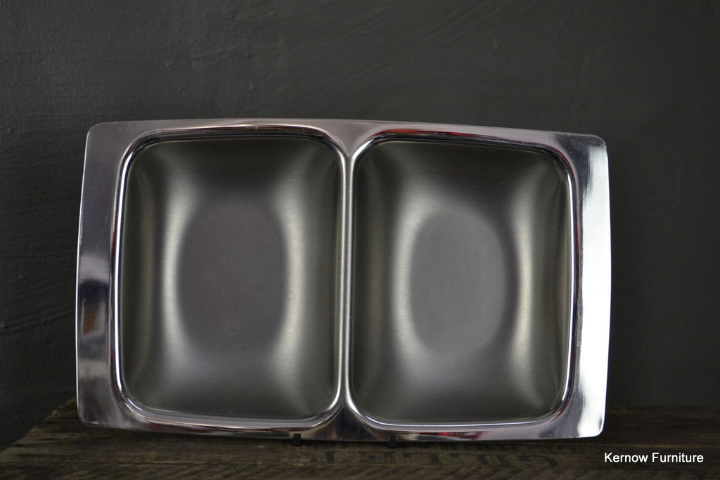 Polished Steel Serving Dish - Kernow Furniture 100s vintage, retro & antique items in stock