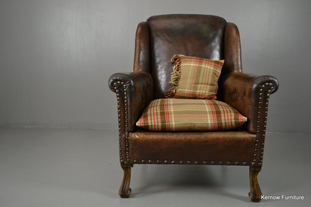 Antique Brown Leather Armchair - Kernow Furniture