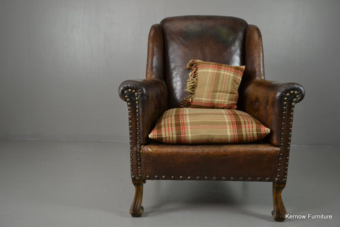 Antique Brown Leather Armchair - Kernow Furniture 100s vintage, retro & antique items in stock