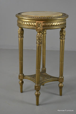 Louis XVI Style Gold & Marble Top Round Side Table - Kernow Furniture 100s vintage, retro & antique items in stock