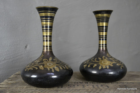 Pair Asian Etched Brass Vase - Kernow Furniture 100s vintage, retro & antique items in stock