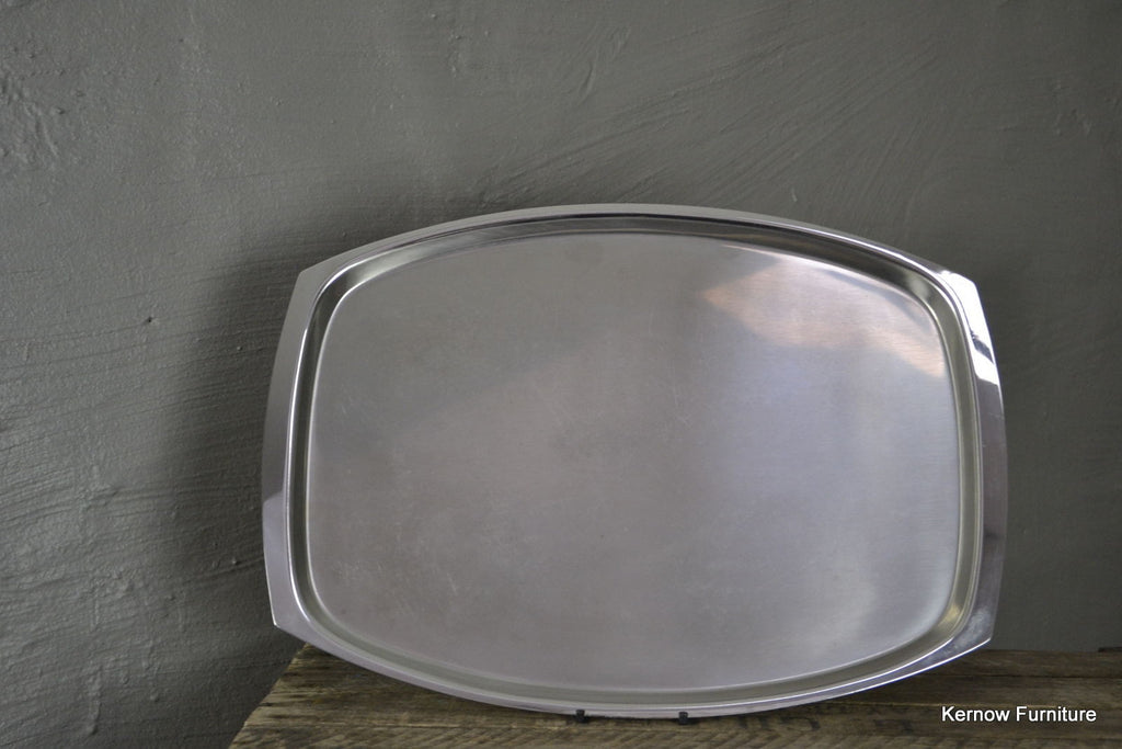 Retro Stainless Steel Serving Drinks Tray - Kernow Furniture 100s vintage, retro & antique items in stock