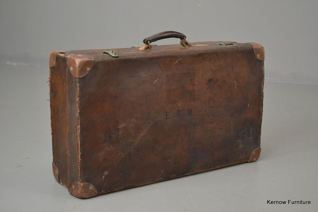 Antique Brown Leather Suitcase - Kernow Furniture 100s vintage, retro & antique items in stock