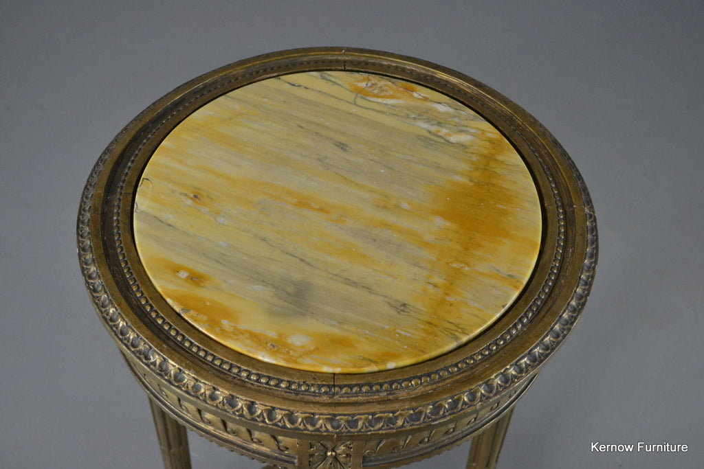 Louis XVI Style Gold & Marble Top Round Side Table - Kernow Furniture