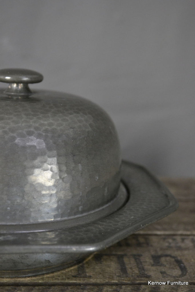 Hammered Pewter Domed Lid Butter Dish - Kernow Furniture 100s vintage, retro & antique items in stock