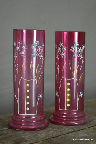 Pair Small Cranberry Glass Vase - Kernow Furniture 100s vintage, retro & antique items in stock