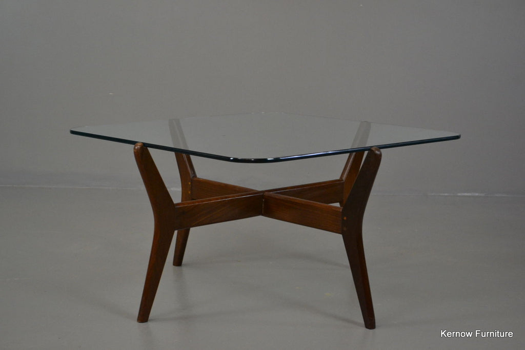 Retro Square Glass Coffee Table - Kernow Furniture