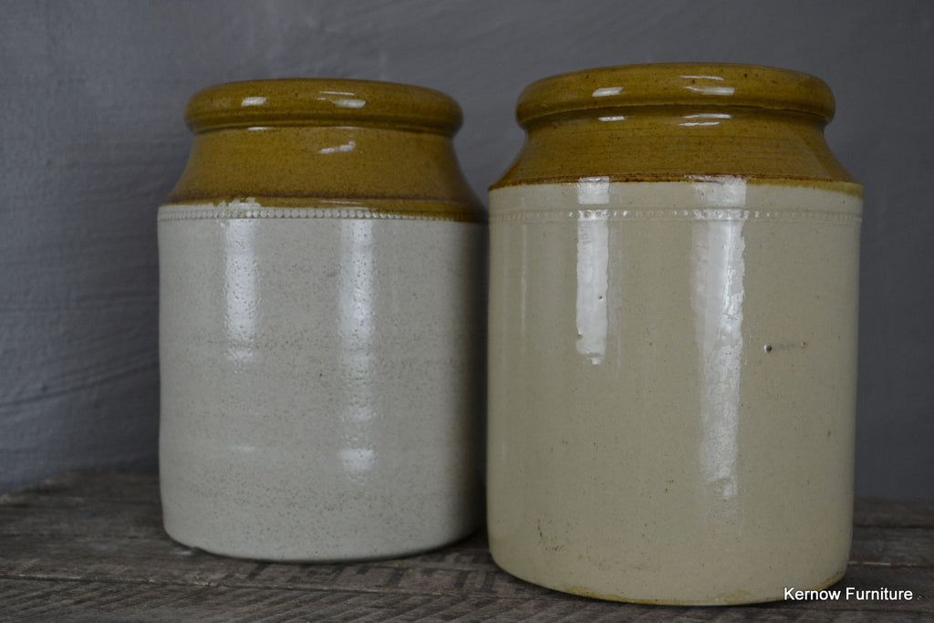 Pair Large Stoneware Jars - Kernow Furniture 100s vintage, retro & antique items in stock