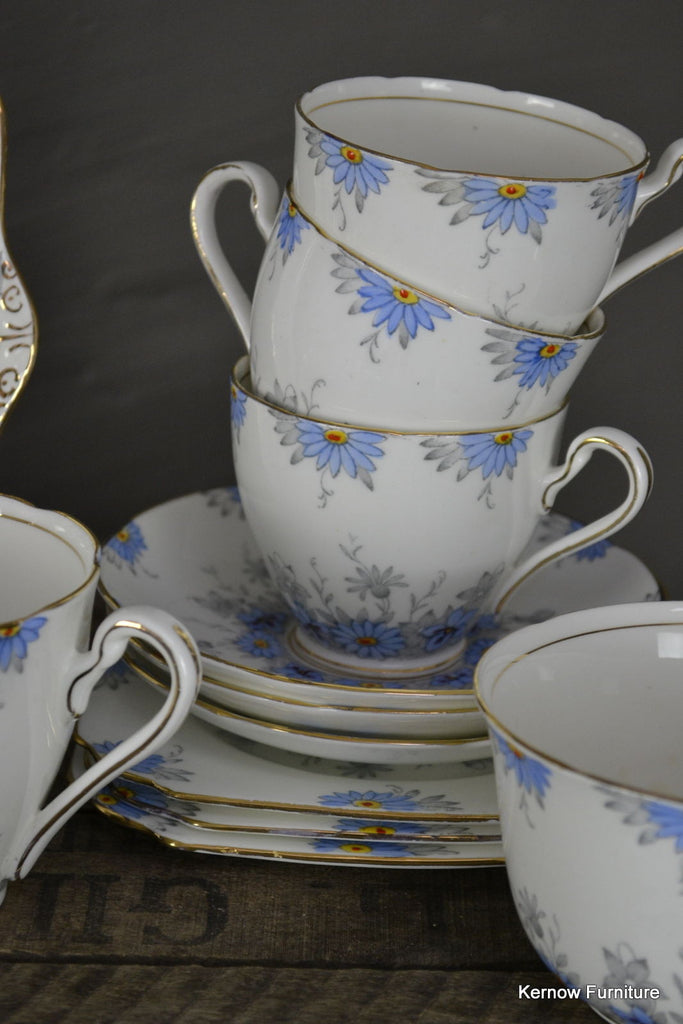 Vintage Pretty Blue & White Gladstone Floral Deco China Tea Set - Kernow Furniture 100s vintage, retro & antique items in stock