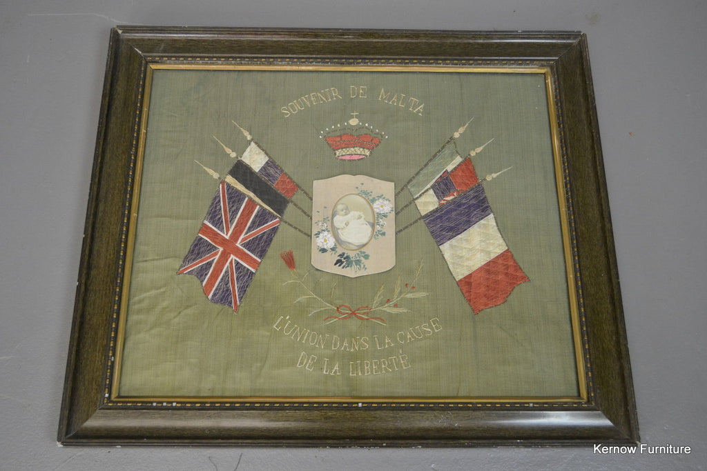 WWI Silk Embroidered Picture - Kernow Furniture 100s vintage, retro & antique items in stock