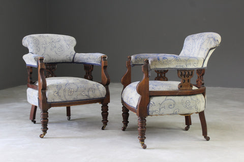 antique edwardian upholstered tub armchairs chairs