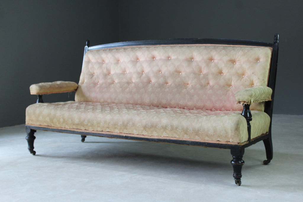 Antique Victorian Ebonised Sofa - Kernow Furniture