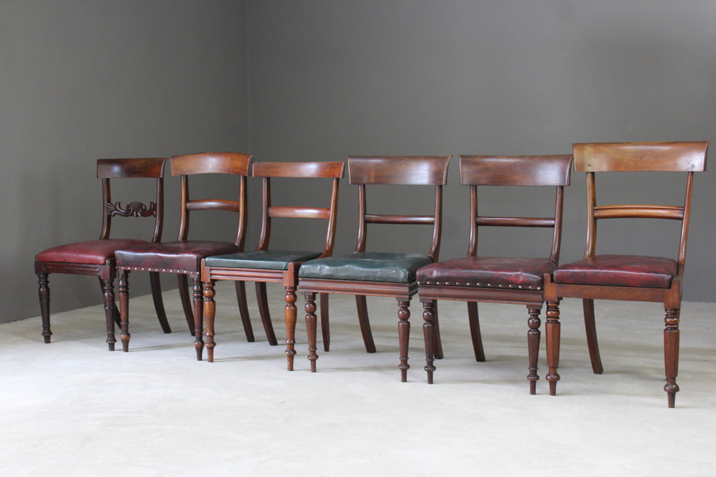 Harlequin Set of 6 19th Century Mahogany Dining Chairs - Kernow Furniture