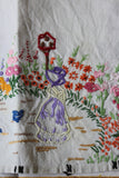4 Vintage Embroidered Linen Tray Cloths