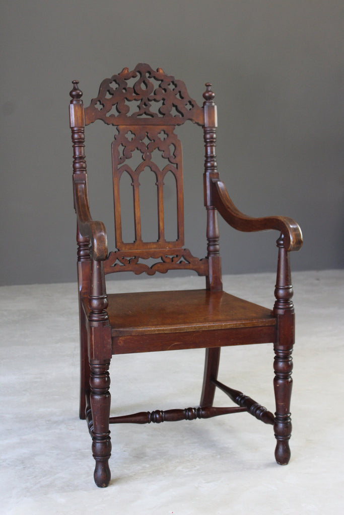 Gothic Style Mahogany Hall Chair - Kernow Furniture