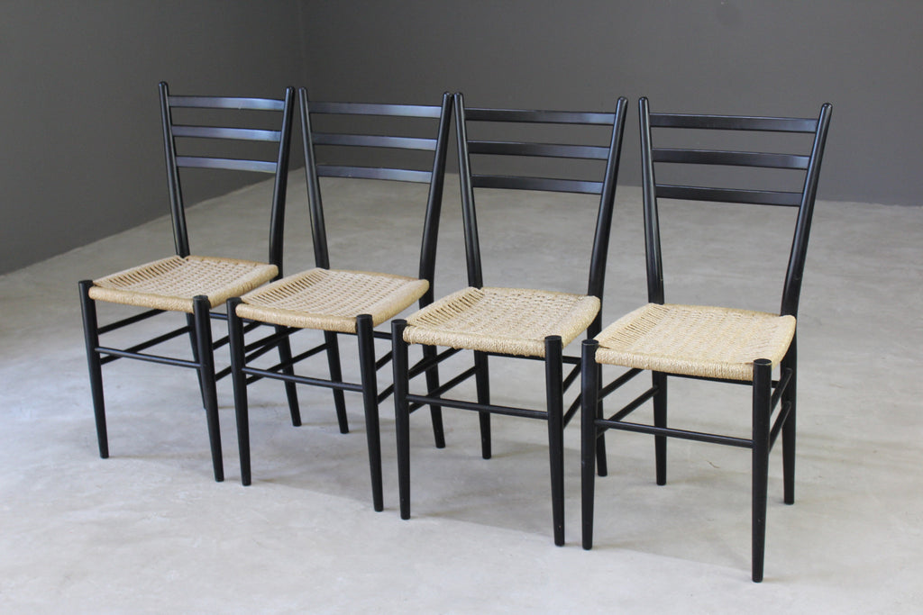 4 Retro Ebonised Frame Dining Chairs - Kernow Furniture