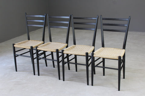 4 Retro Ebonised Frame Dining Chairs