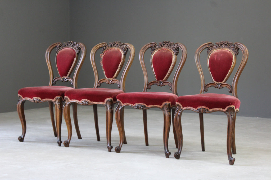 Set 4 Antique French Dining Chairs - Kernow Furniture
