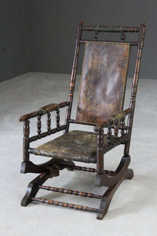 leather american rocking chair