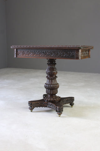 Anglo Indian Carved Padouk Card Table - Kernow Furniture