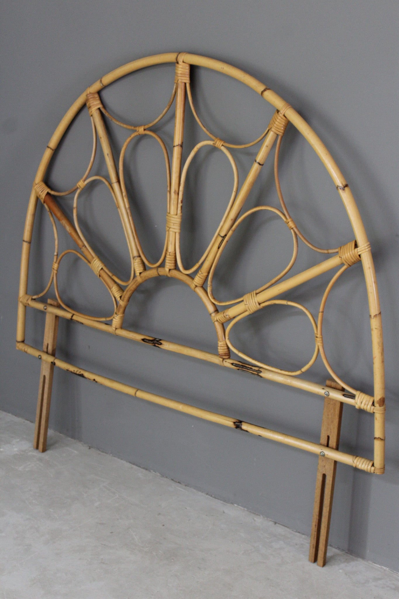 Retro Boho Cane Bamboo Double Headboard Kernow Furniture