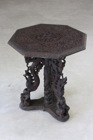 Burmese Octagonal Carved Occasional Table - Kernow Furniture