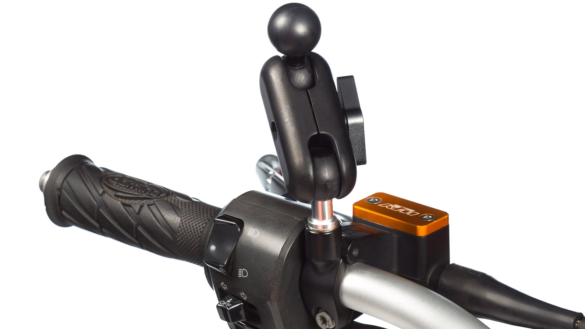 Motorcycle Mirror Mount with Extender Connected