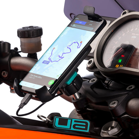 Motorcycle Universal Holder Samsung Galaxy S7 and Handlebar Clamp Mount.