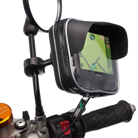 Motorcycle Scooter Mirror Stem 8-16mm Mount with Water Resistant GPS Case