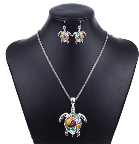 MULTICOLOR TURTLE JEWELRY SET