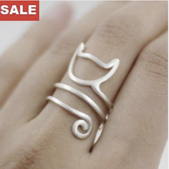 Premium Solid Sterling Silver Twine Cat Ring