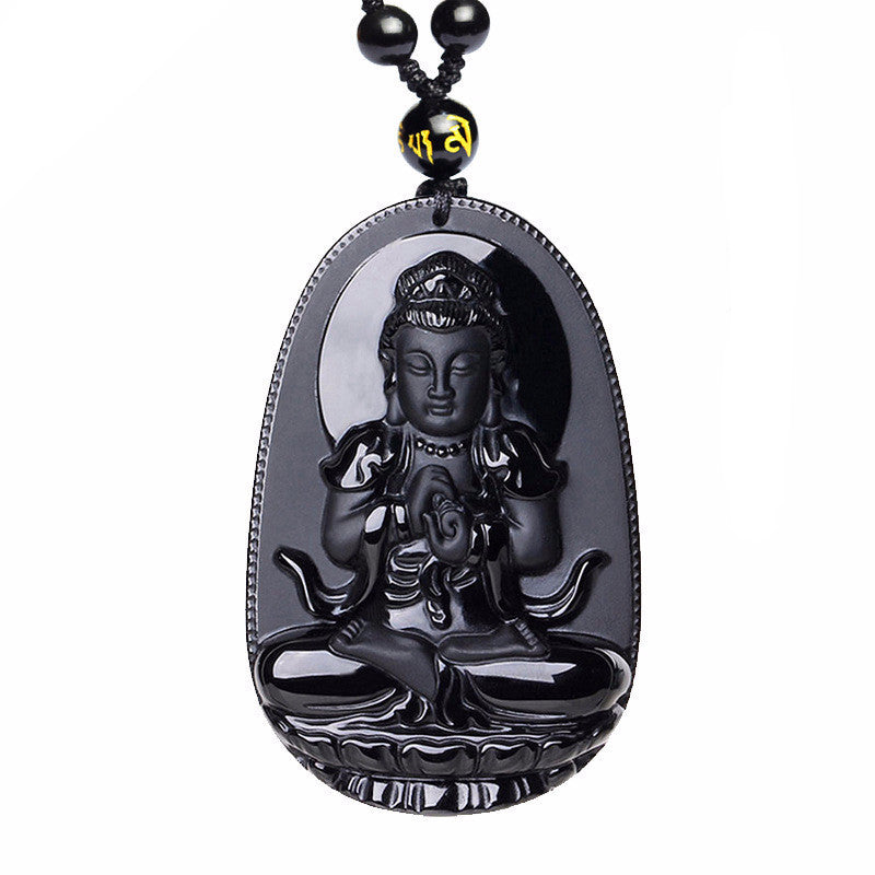 Natural Black Obsidian Carved Buddha Necklace