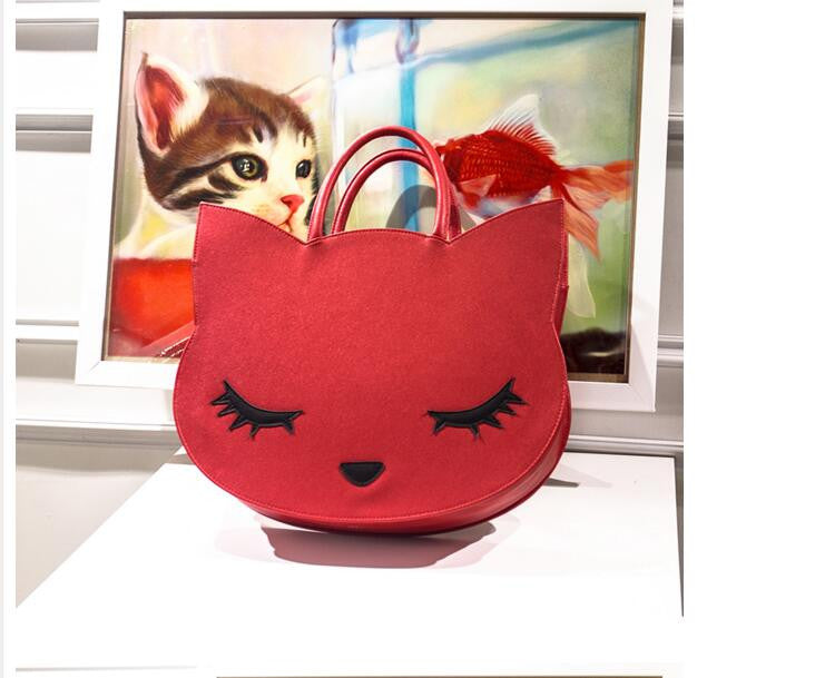 Faux Leather Cat Handbag in Red, Pink & Black Colors
