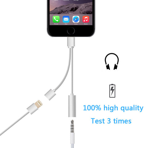 2 IN 1 LIGHTNING TO 3.5MM AUDIO JACK CHARGER ADAPTER FOR IPHONE 7 AND 7 PLUS