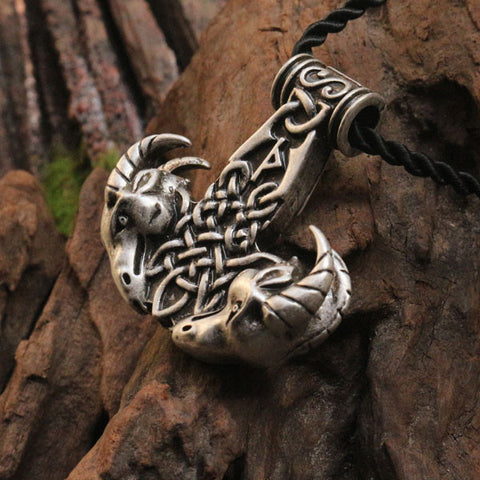 Goat Heads Ram Thor's Hammer Viking Necklace