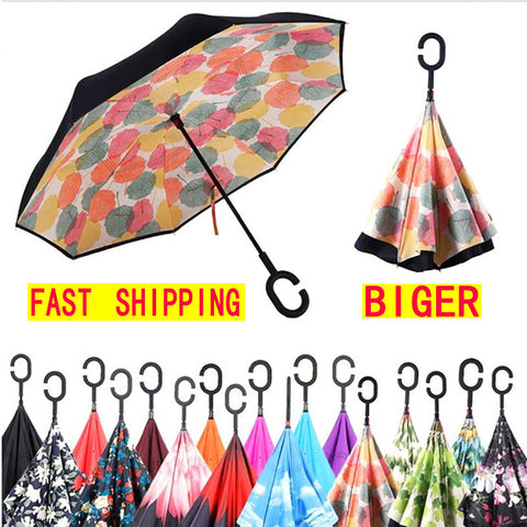 2-LAYER SMART REVERSIBLE UMBRELLA WITH C-HANDLE
