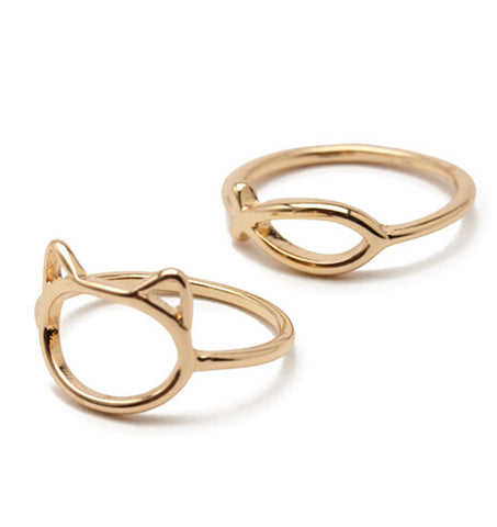 18K Gold Plated Cute Fish and Cat Finger Rings Set