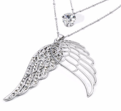 Celestial Angel Wings  Luxury Long Two-layer Necklace and Earring set
