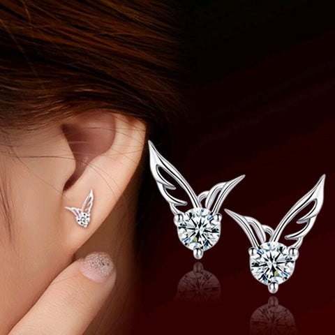 "HOT OFFER STERLING SILVER JEWELRY ""ANGEL WINGS CRYSTAL EAR STUD EARRINGS"""