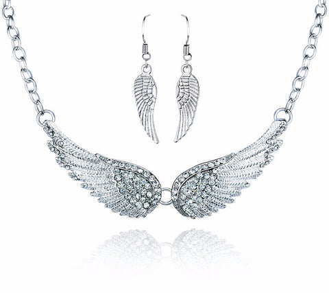Silver Gaurdian Angel Wing set - Earrings and Necklace
