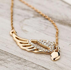 Heart Crystal Angel Wings pendant Necklace