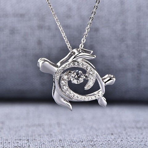 Ocean sea turtle diamond necklace