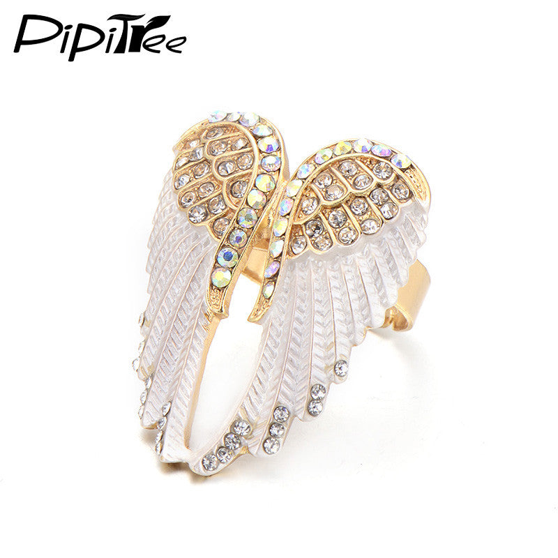 Crystal Angel Wings Ring